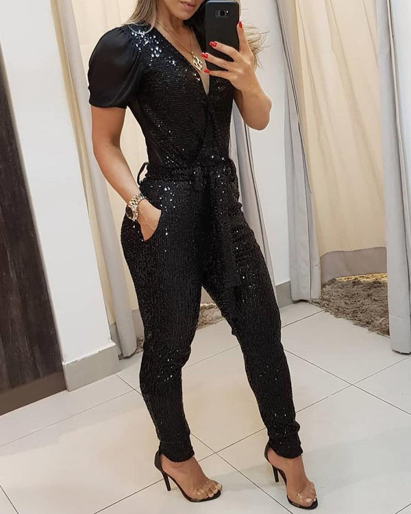 Sequins Patchwork Mesh Jumpsuit