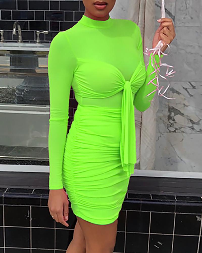 Sheer Mesh Ruched Knotted Bodycon Dress