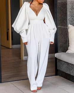 Billowing Split Sleeve Plunge Jumpsuits
