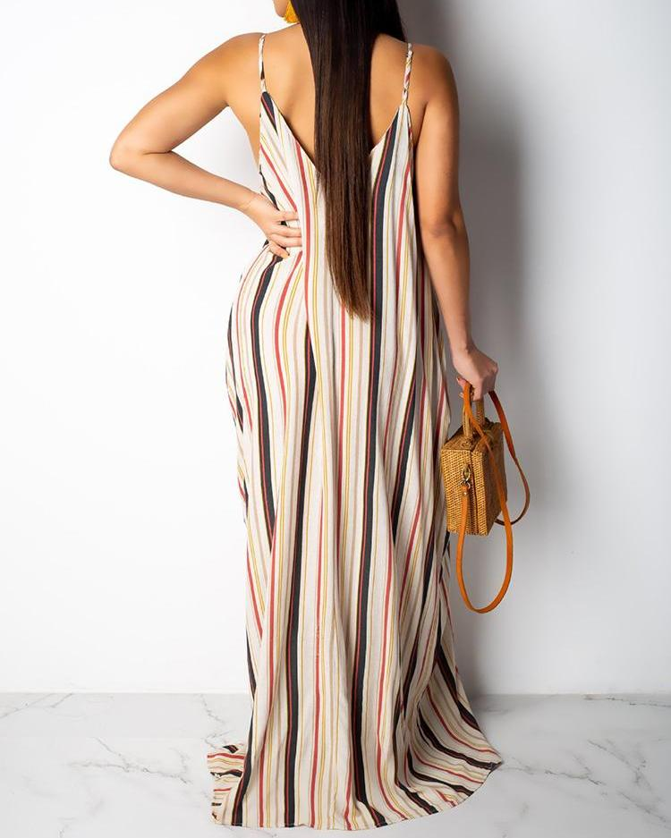 Spaghetti Strap Multicolor Stripes Maxi Dress