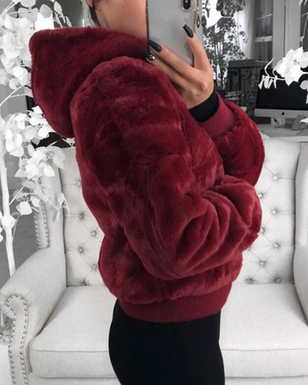 Fluffy Solid Pocket Long Sleeve Zipped Hooded Coat