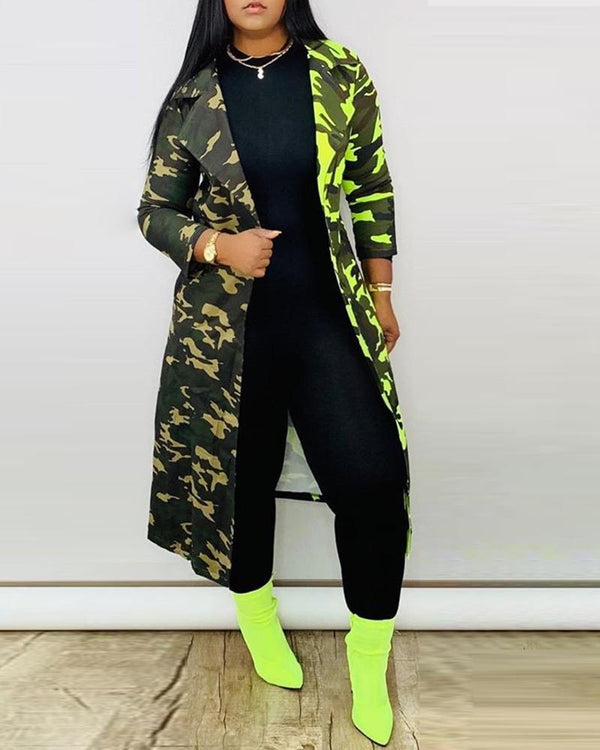 Camouflage Long Sleeve Longline Coat