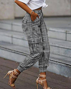 Plaid Print Pockets Design Casual Cargo Pants