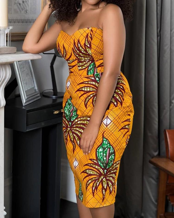 Floral Print Strapless Slit Back Bodycon Dress