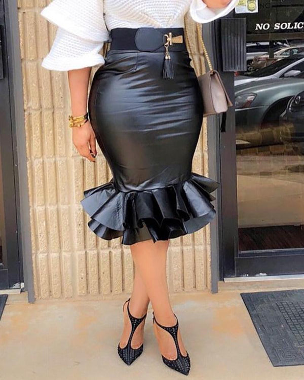 Zipper Mermaid Hem Coated PU Skirt