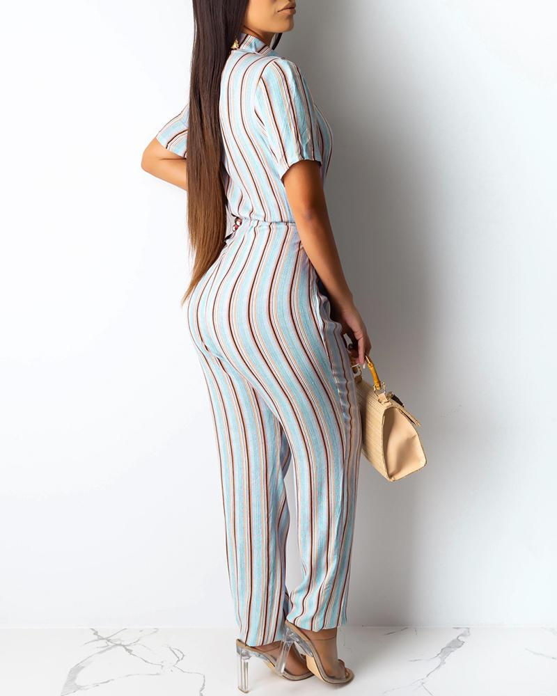 Striped Short Sleeve Button Casual Jumpsuit