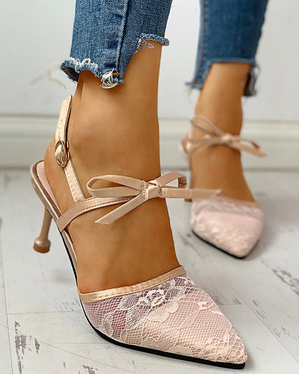Pointed Toe Lace Bowknot Ankle Buckled Heeled Sandals