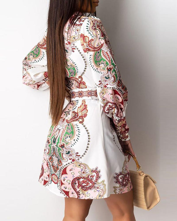 Turn-down Collar Retro Print Lantern Sleeve Shirt Dress