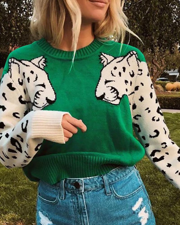 Leopard Long Sleeve Casual Sweater