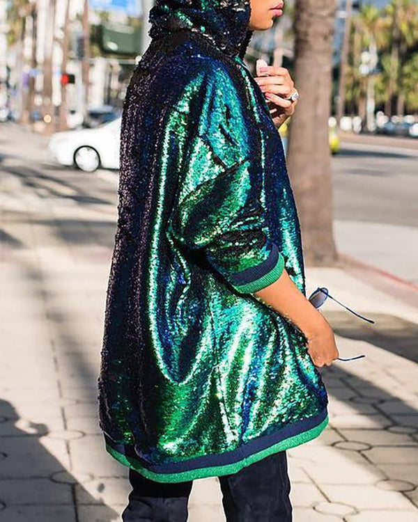Sequins Hooded Long Sleeve Sweatshirt