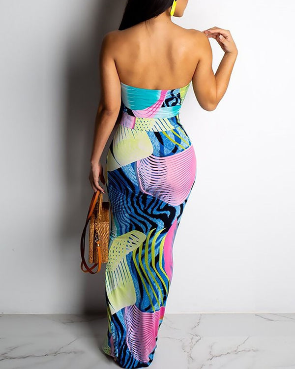 Abstract Geo Print Strapless Backless Dress