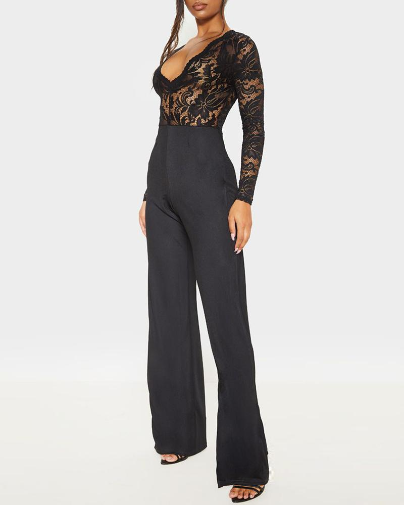 V-Neck Sheer Lace Insert Long Sleeve Wide Leg Jumpsuit
