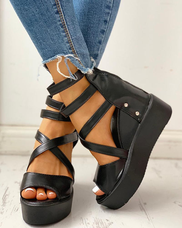 Solid Multi-strap Peep Toe Muffin Sandals