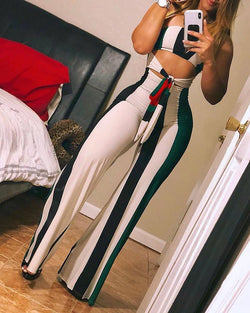 Striped Colorblock Cutout Bandeau Jumpsuit