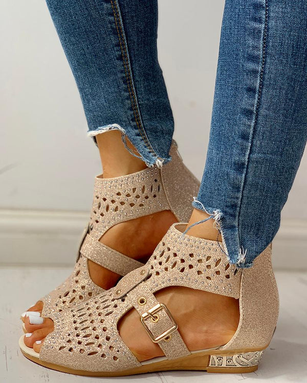 Studded Hollow Out Peep Toe Buckled Sandals
