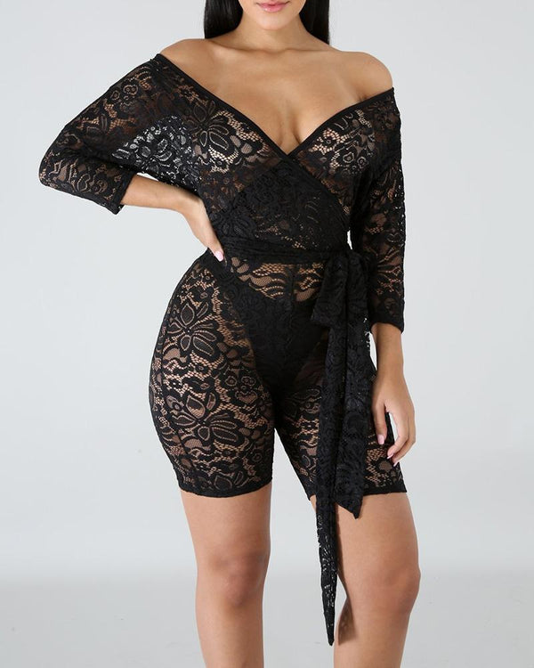 Lace Embroidery See Through Romper & Sexy Panties Underwear
