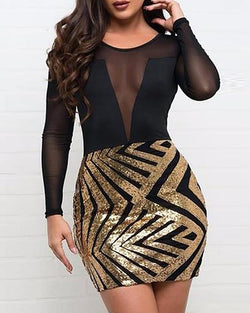 Mesh Sequined Bodycon Mini Dress