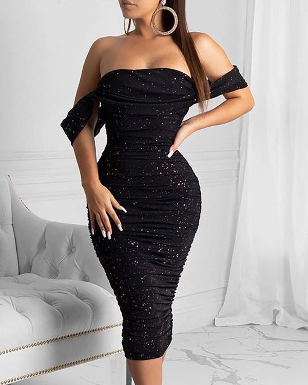 Glitter Off Shoulder Ruched Midi Dress