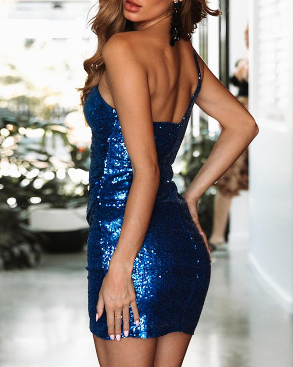 Glitter One Shoulder Backless Sequins Bodycon Dress