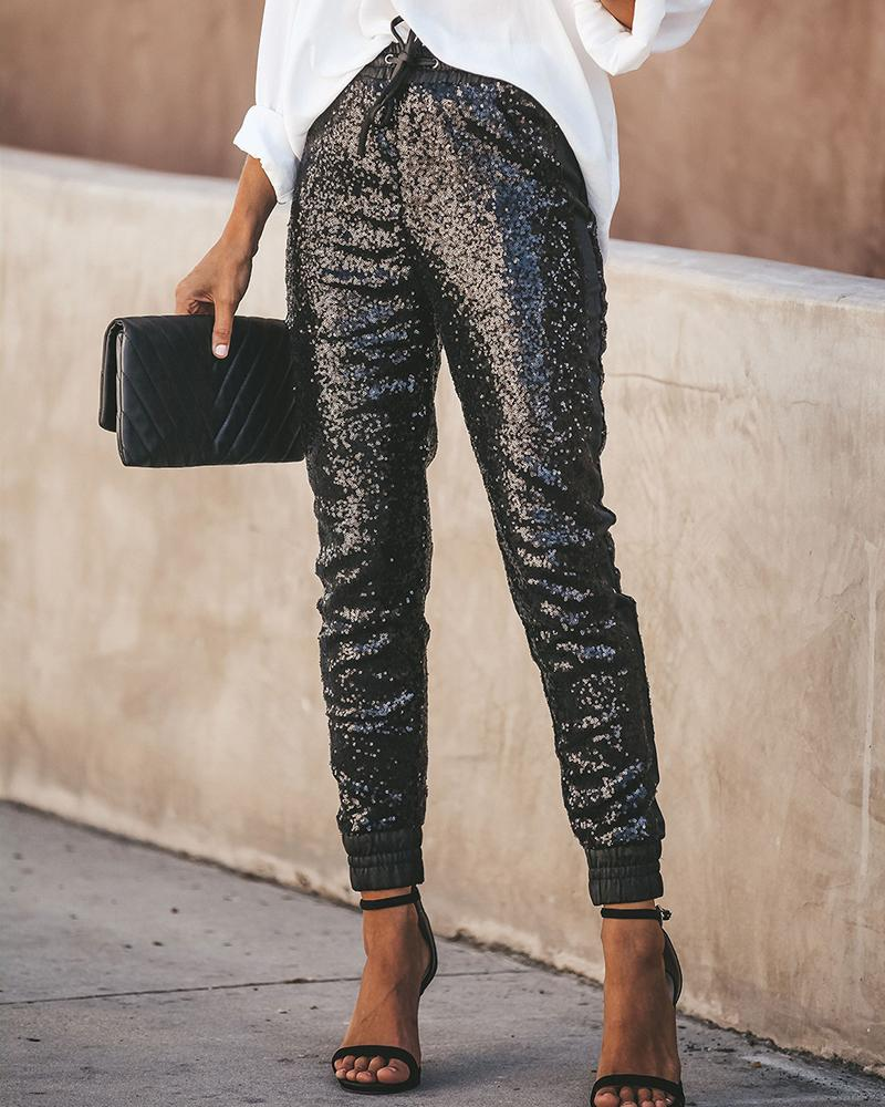 Faux Leather Sequins Drawstring Design Pant