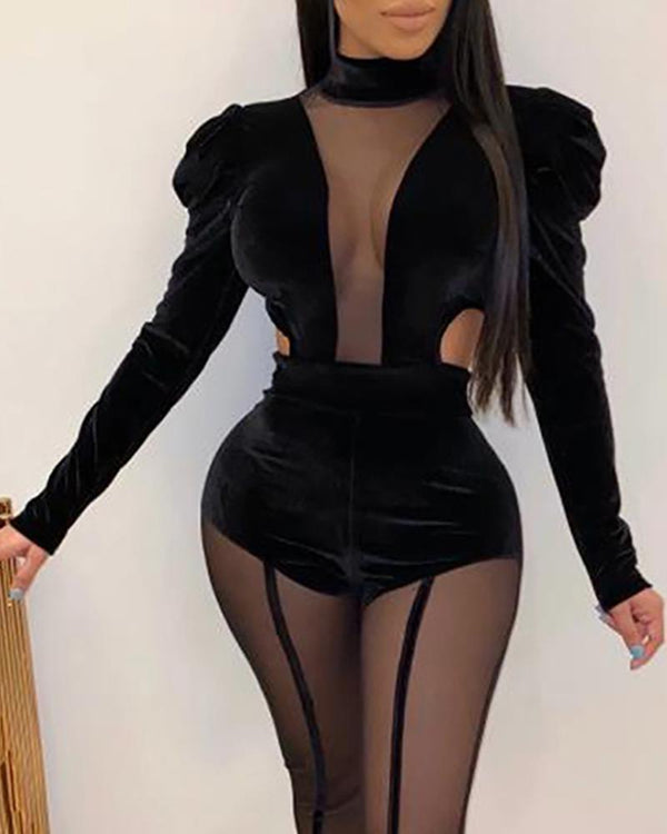 Velvet Mesh Patchwork Puffed Sleeve Jumpsuit