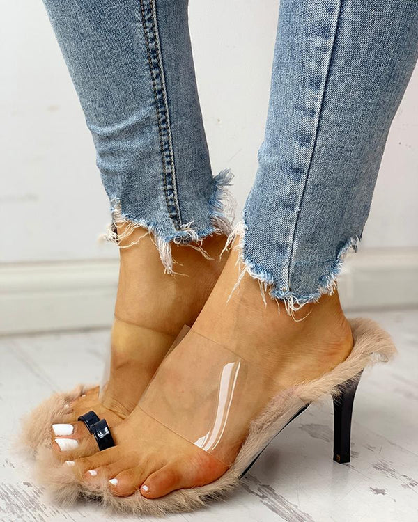 Transparent Strap Fluffy Slingback Thin Heeled Sandals