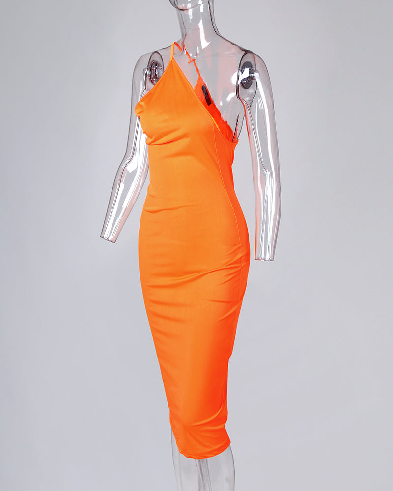 Solid Asymmetrical Neck Bodycon Dress