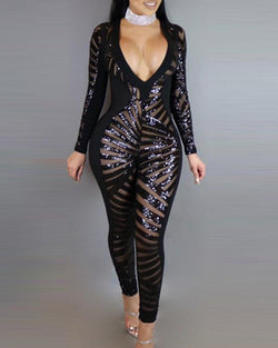 Deep V Sequined Skinny Jumpsuit