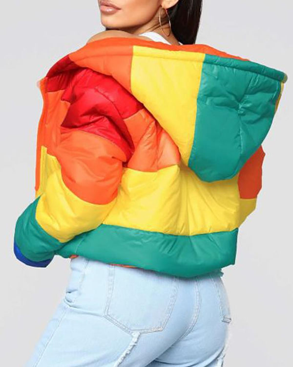 Hooded Colorblock Insert Long Sleeve Zipper Design Coat