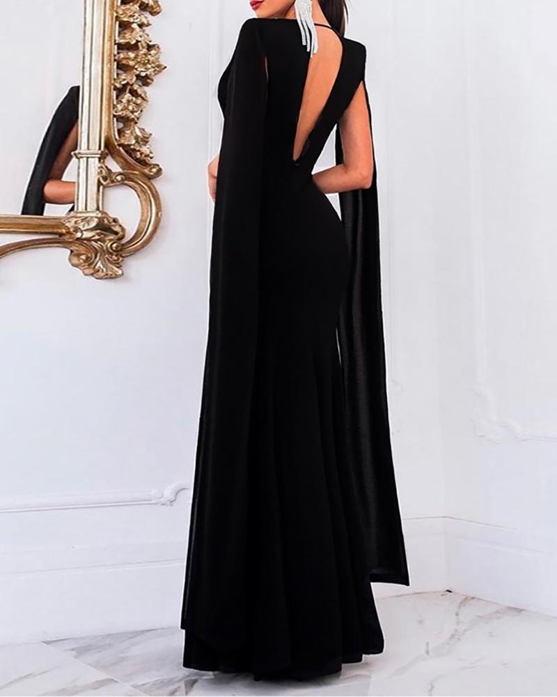 Solid Plunge Open back Fishtail Dress