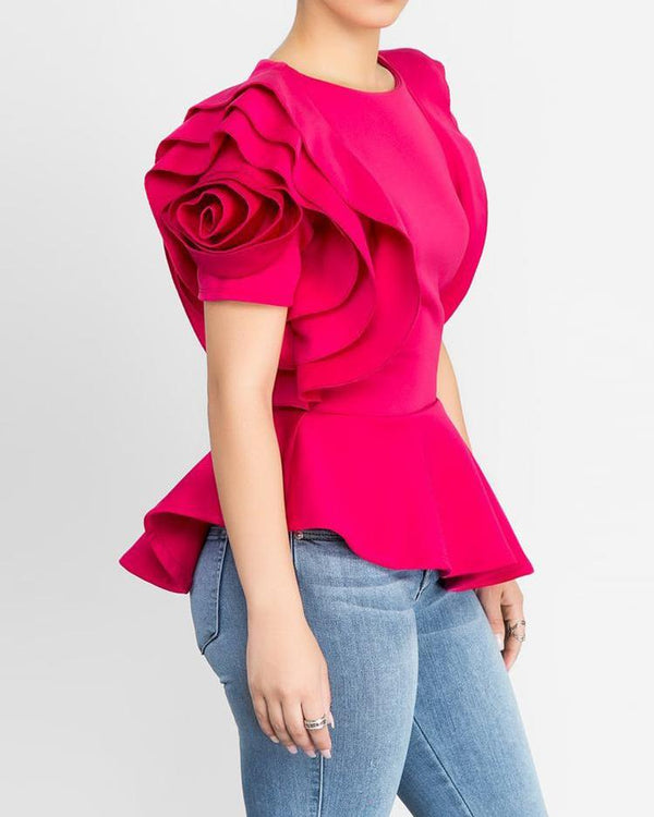 Layered Sleeve Ruffles Hem Irregular Solid Blouse