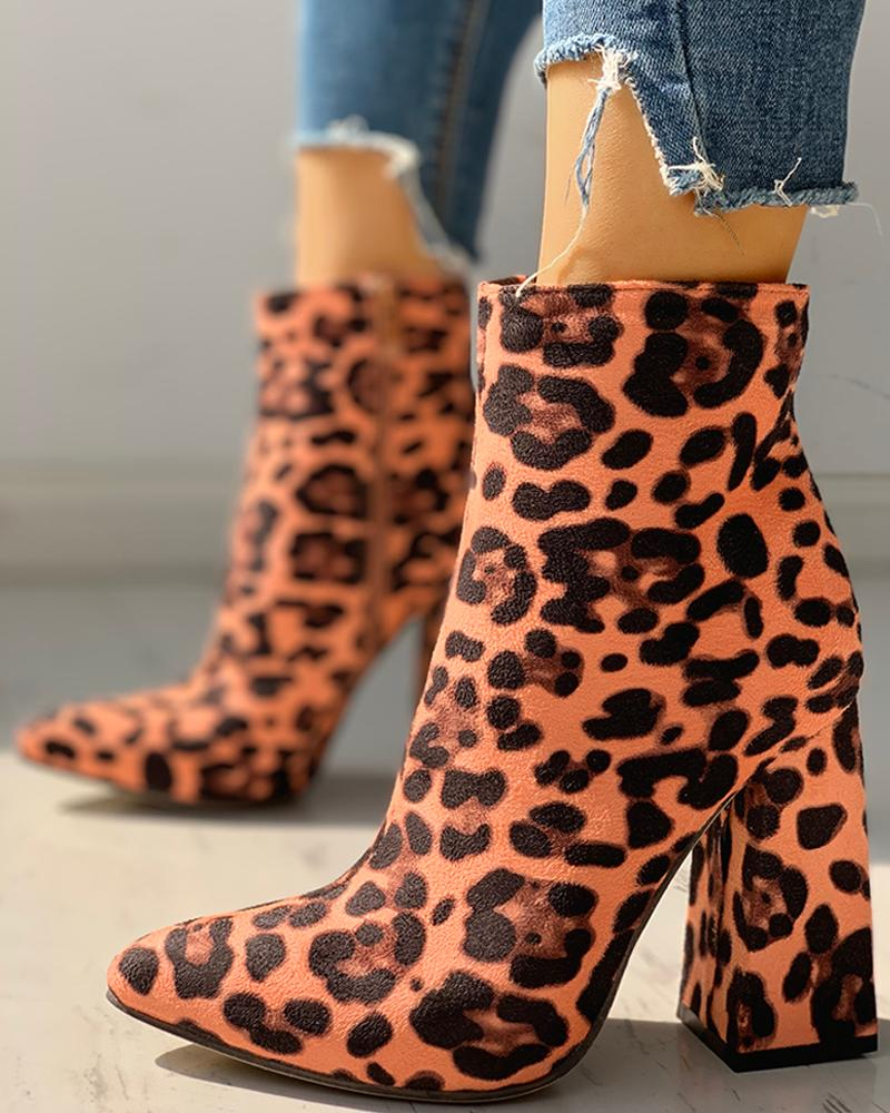 Suede Chunky Heeled Ankle-Boots