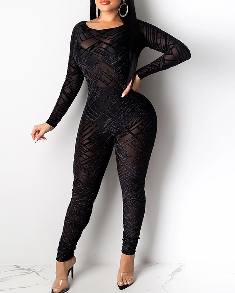 Round Neck Backless Semi Sheer Mesh Jumpsuit