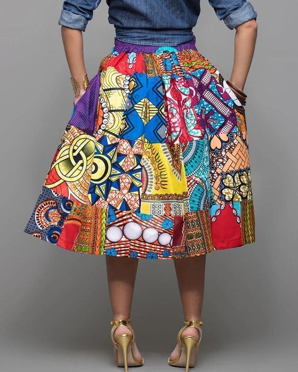 Ethnic Print Ruched Casual Skirt