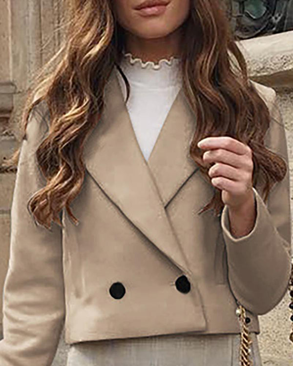 Solid Notched Collar Buttoned Wool Blazer