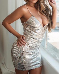 Spaghetti Strap Bodycon Sequin Dress