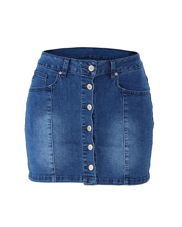 High Waist Button Detail Denim Skirt