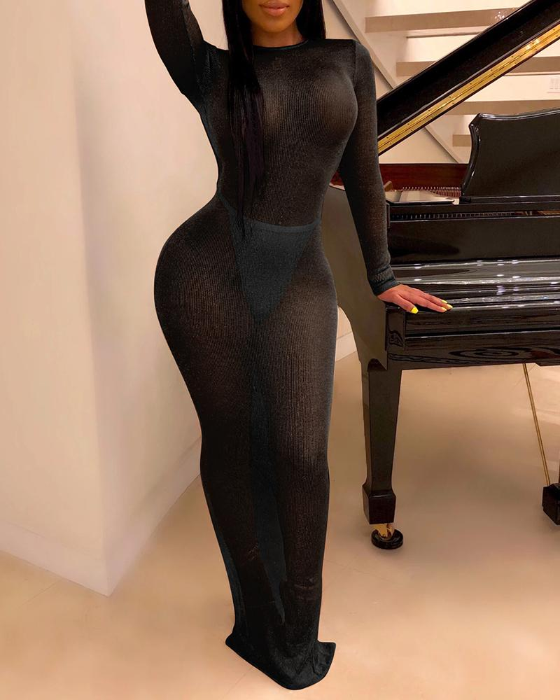 Long Sleeve Backless See Through Bodycon Dress