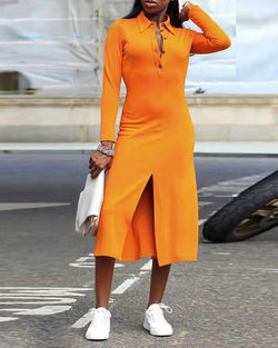 Solid Button Detail Long Sleeve Slit Dress