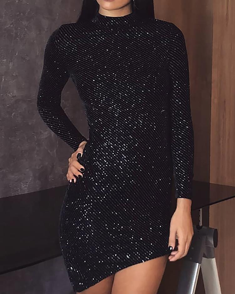 Shiny Long Sleeve Irregular Bodycon Dress
