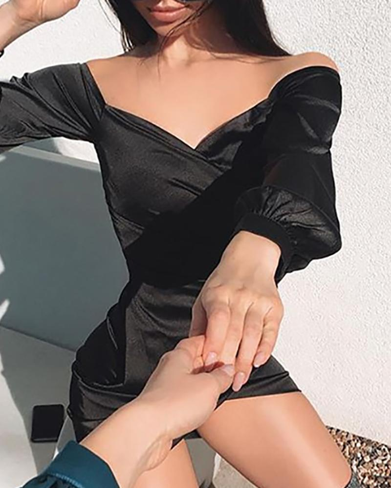 Surplice Wrap Ruched Bodycon Dress