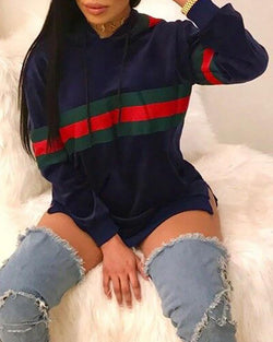 Colorblock Striped Hooded Drawstring Design Sweatshirt Dress
