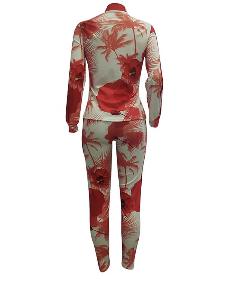Floral Pocket Zipper Up Jacket & Pants Sets
