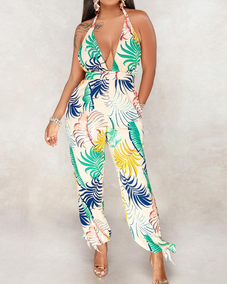Leaf Print Open Back Halter Jumpsuit