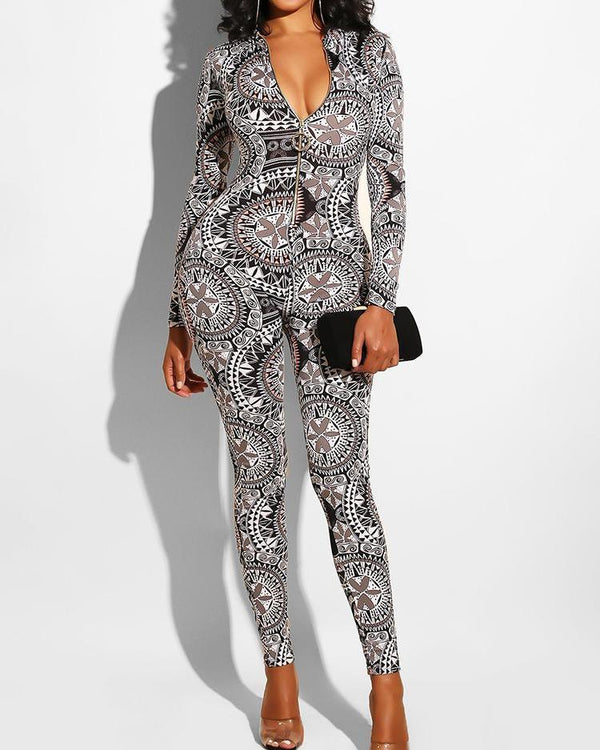 Print Zipper Design Jumpsuit
