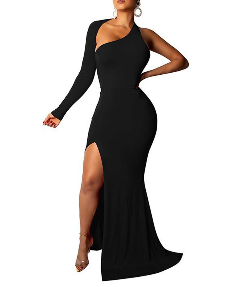 One Shoulder Backless Evening Dress
