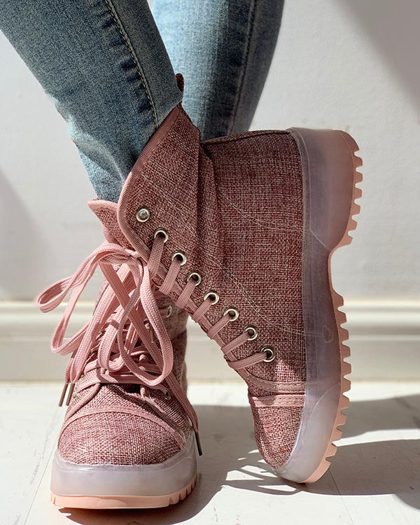 Solid PU Lace-Up Chunky Heels