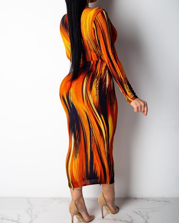 Plunge Twist Front Abstract Printed Dress