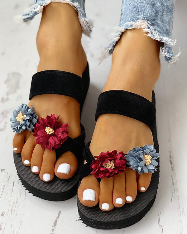 Flower Embellished Toe Ring Design Sandals