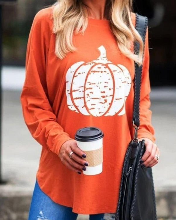 Pumpkin Oversized Long Sleeve Top